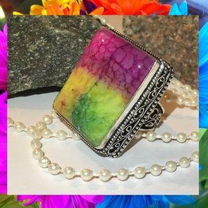 Square Cut Druzy Rainbow Solar Quartz Vintage Ring